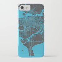 vancouver iPhone & iPod Cases featuring Vancouver Map by Map Map Maps
