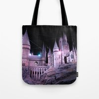 hogwarts Tote Bags featuring Hogwarts by Anabella Nolasco