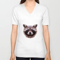 raccoon V-neck T-shirts featuring Raccoon by Roxy Color