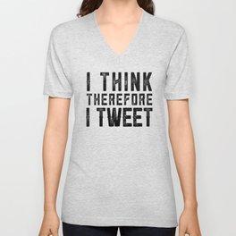 I Think therefore I tweet (on white) Unisex V-Neck