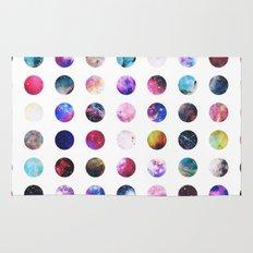 Rainbow Nebula Galaxy Girly Polka Dots Pattern Rug