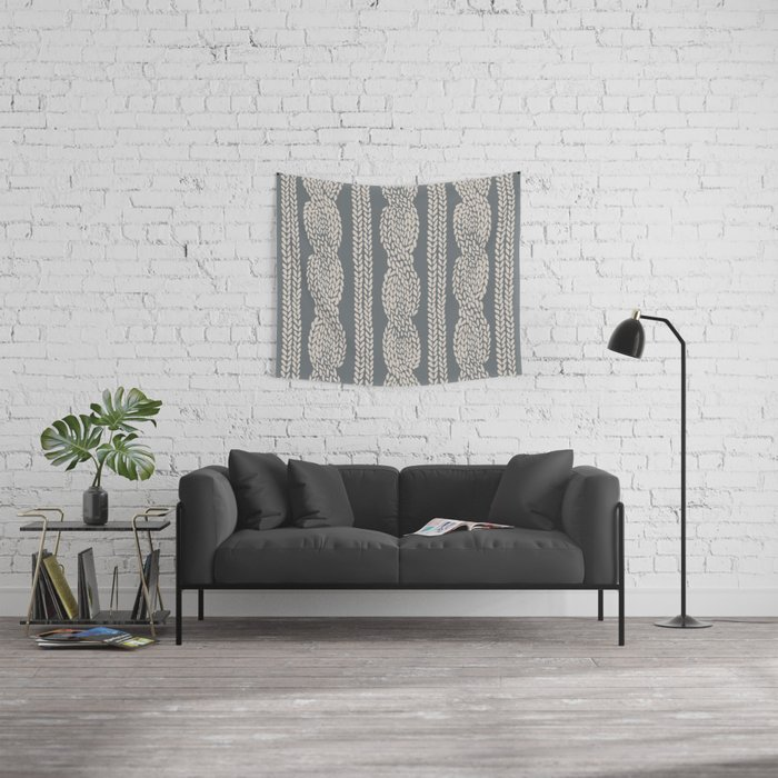 Cable Knit Grey Wall Tapestry