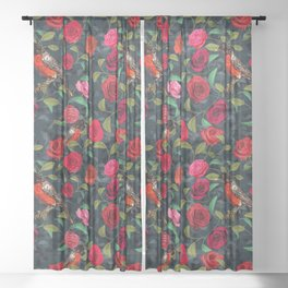 Roses and Robins Sheer Curtain