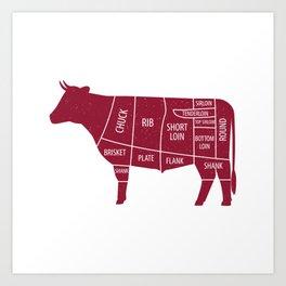 Beef Chart Cuts BBQ Barbecue Grill Art Print