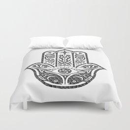 Black and White Mosaic Hamsa Duvet Cover