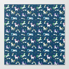 Unicorns and Rainbows - teal -tiny Canvas Print