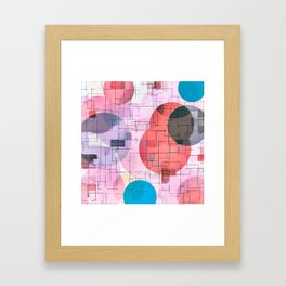 geometric square and circle pattern abstract in red pink blue Framed Art Print