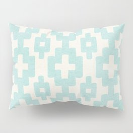 Pastel Marine Blue Turquoise Geometric Watercolor Aztec Pattern Cute Light Hearted Style Pillow Sham