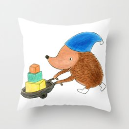 Little Hedgehog Going to His Best Friend's Birthday Party - Children's Illustration Throw Pillow