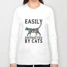 easily distracted by cat t-shirts Long Sleeve T-shirt