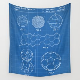 Soccer Ball Patent - Football Art - Blueprint Wall Tapestry