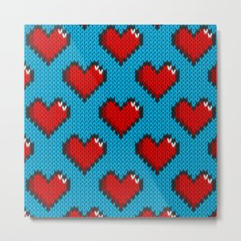 Knitted heart pattern - blue Metal Print