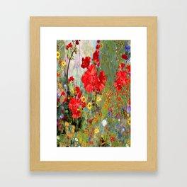 Red Geraniums in Spring Garden Landscape Painting Framed Art Print