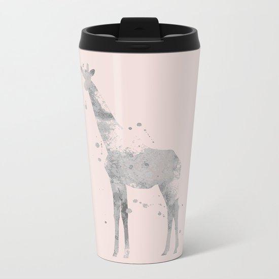 Giraffe in pink Metal Travel Mug