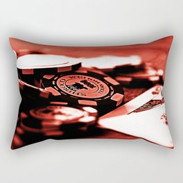 Casino Chips & Cards-Red Rectangular Pillow