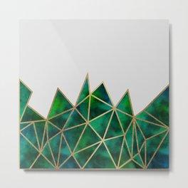 Emerald & Gold Geometric Metal Print