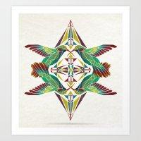 hummingbird Art Prints featuring hummingbird  by Manoou