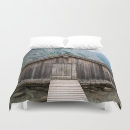 Cottage in a misty lake Duvet Cover
