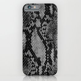 Black and Gray Snake Skin Print iPhone Case