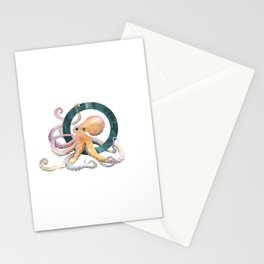 O is for Octopus - Letter O Monogram Stationery Cards