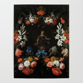 """Abraham Mignon """"Garland of Flowers"""" Poster"""
