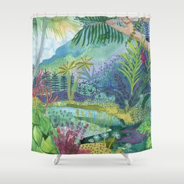 Jungle Paradise Watercolor Shower Curtain