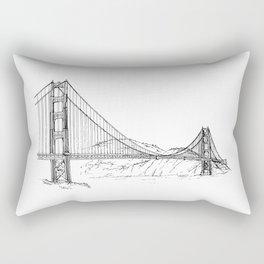 San Francisco Golden Gate Bridge | Black and White Architecture Drawing Rectangular Pillow