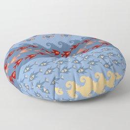 Inca Ethnic Pattern Fish and Birds Floor Pillow
