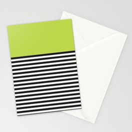 STRIPE COLORBLOCK {LIME} Stationery Cards