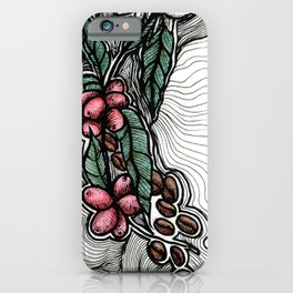 Coffee: from flower to toasted grain doodle. iPhone Case