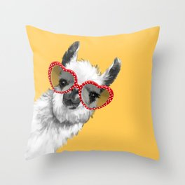 Fashion Hipster Llama with Glasses Throw Pillow