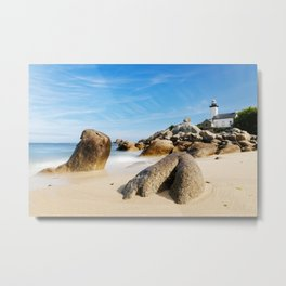 Lighthouse on Brittany Beach Metal Print