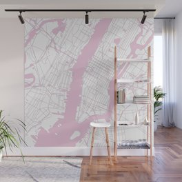 New York City White on Pink Wall Mural