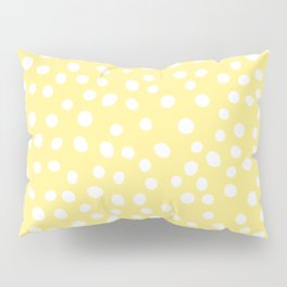 Pastel yellow and white doodle dots Pillow Sham
