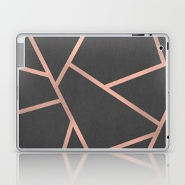 Dark Grey and Rose Gold Textured Fragments - Geometric Design Laptop & iPad Skin
