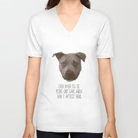 pit bull V-neck T-shirts featuring Pit Bull Print by Roxy Makes Things