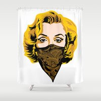 gangster Shower Curtains featuring Gangster Lady by UrbanCandy