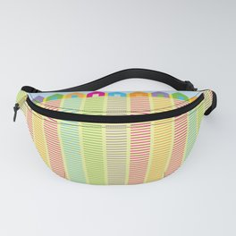 Beach cabins pattern stripes Fanny Pack