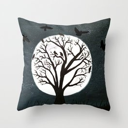 Peaceful Moon Night Gathering Throw Pillow