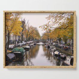 Autumn on Amsterdam's canals Serving Tray