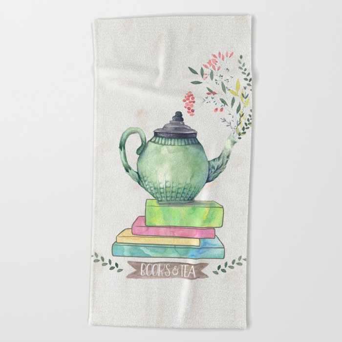 Books & Tea Watercolor Beach Towel