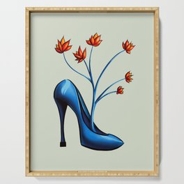 High Heel Shoe With Flowers Surreal Art Serving Tray