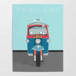 Thailand Tuk Tuk Taxi Travel Poster Poster