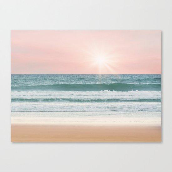 Pink pastel ocean #sunset Canvas Print