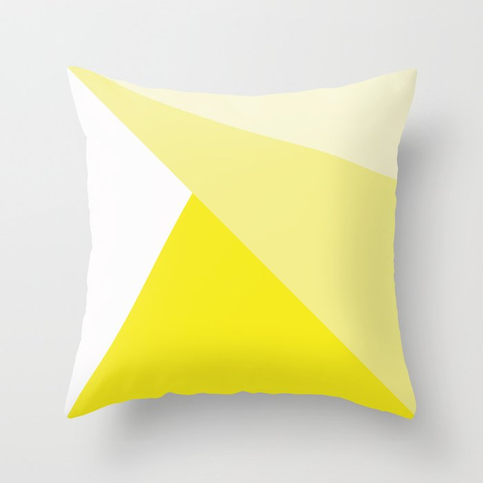 Simple Geometric Triangle Pattern - White on Yellow - Mix & Match with Simplicity of life Throw Pillow