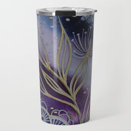 Purple Space Flowers Travel Mug