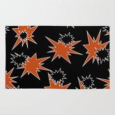 Stars (Orange & Black on Black) Rug