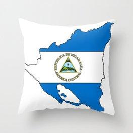 Nicaragua Map with Nicaraguan Flag Throw Pillow