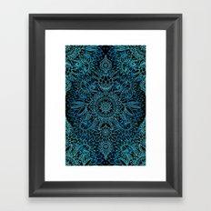 Black & Aqua Protea Doodle Pattern Framed Art Print