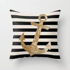 GOLD GLITTER ANCHOR IN BLACK AND NUDE Throw Pillow